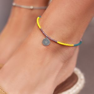 Beads & Coin Anklet - Star - Gold/Silver