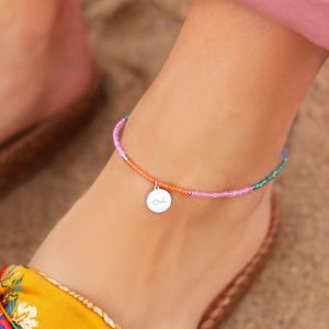 Beads & Coin Anklet - Oui - Gold/Silver
