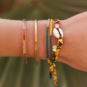 Little Beads Bangle - Red/Pink - Gold/Silver