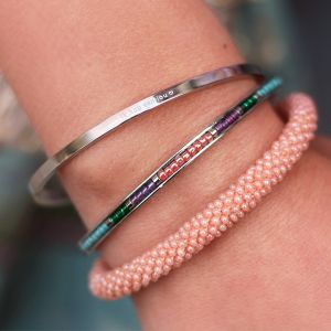 Little Beads Bangle - Pink/Blue - Gold/Silver