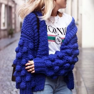 Handmade Knitted Cardigan - Blue