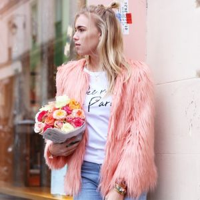 Short Faux Fur Coat - Pink