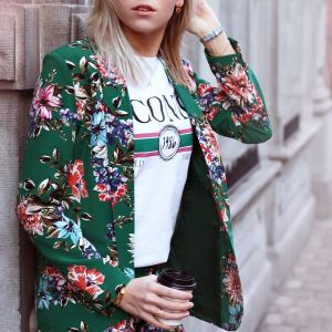 Floral Suit Blazer - Green