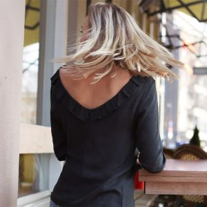 Low Back Blouse - Grey