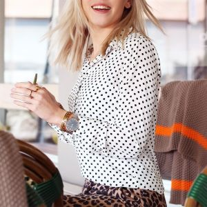 Polkadot Blouse - White/Black