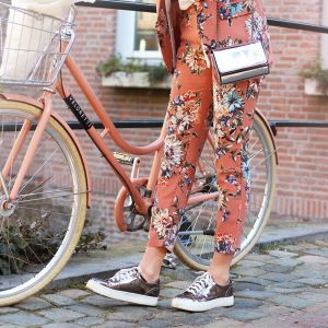 Floral Suit Pants - Peach