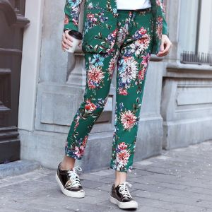 Floral Suit Pants - Green