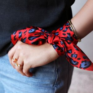 Leopard Square Scarf - Red