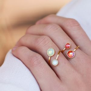 Double Stone Ring - Coral/Orange - Gold/Silver
