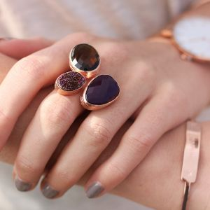 My Jewellery Gold Trio Drizzy Ring – Rose Black/Purple