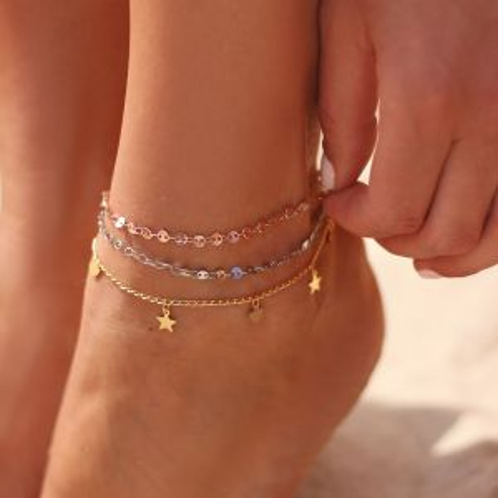 Stars & Hearts anklet
