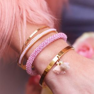 Beads Bangle - Light Pink - Gold/Silver