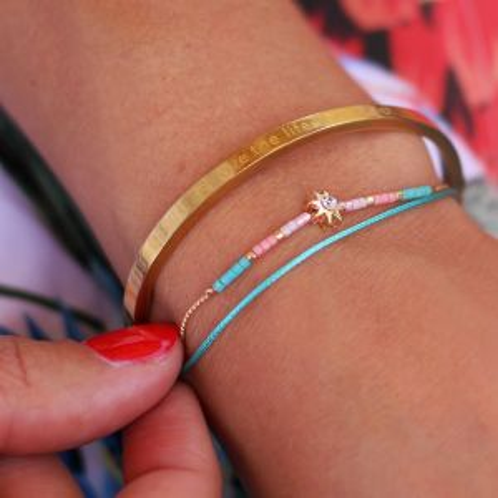 Sun Stone & Bead Bracelet – Turquoise/Gold