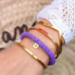 Small Chain Initial Bracelet - Gold
