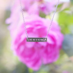 Bar Quote Necklace Love you to the moon