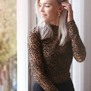 Natural Leopard Lace Top