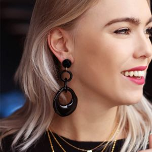 Black Resin Hoops Earrings