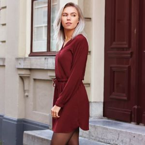 Bordeaux Plain Dress With Elastic Waist