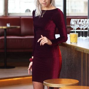 Bordeaux Rib Velvet Bodycon Dress