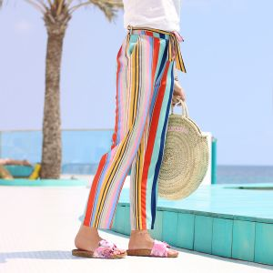 Striped Summer Pants - Multicolor