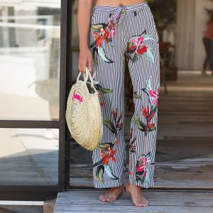 Striped Flower Palazzo Pants