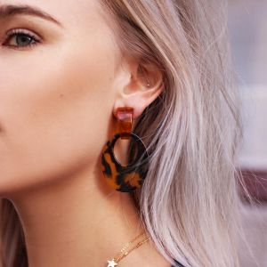 Brown Resin Oval Hoops