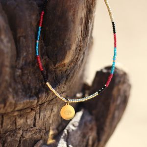 Beads & Coin Choker - Eye - Gold/Silver