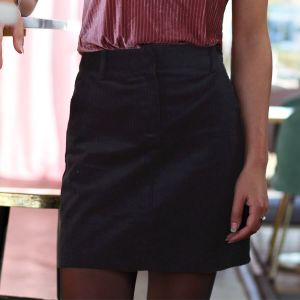 Black Corduroy A-Line Skirt