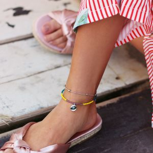 Beads & Coin Anklet - Stars & Palm Tree - Gold/Silver