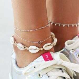 Ankle Strap Heart - Gold/Silver