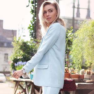 Feminine Suit Blazer - Light Blue