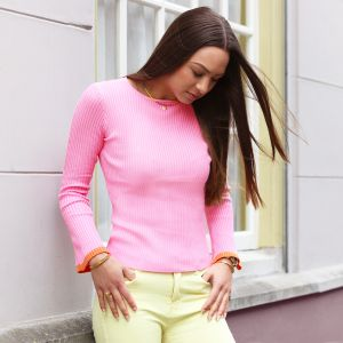 Flared Sleeve Top - Pink/Orange