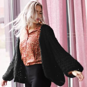 Black Knitted Cardigan Puff Sleeve