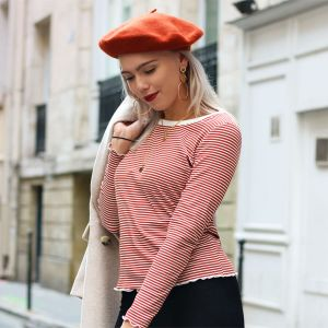 Long Sleeve Stripe Top – Rust