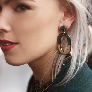 Grey & Gold Bicolor Oval Earring