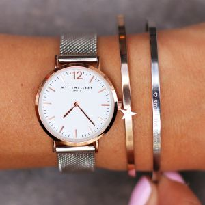 Medium Bicolor Watch - Silver/Rose/White