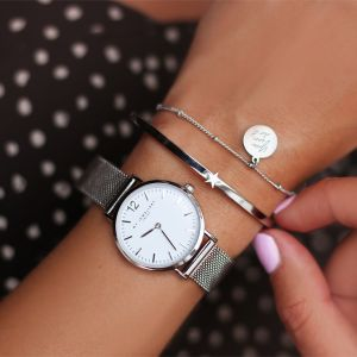 Medium Mesh Watch - White/Silver