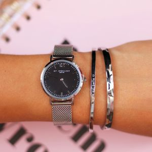 Medium Mesh Watch - Black/Silver