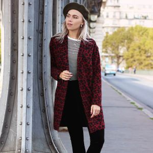 Long Red Leopard Coat