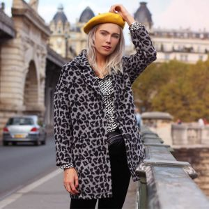 Long Grey Leopard Coat