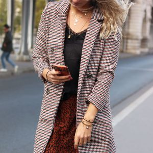 Houndstooth Long Coat