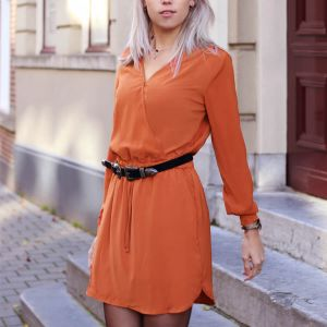 Rust Plain Dress With Elastic Waist