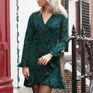 Green Zebra Stripes Dress