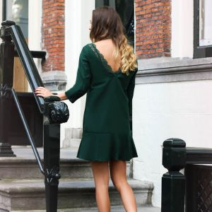 Dress Open Lace Back - Dark Green