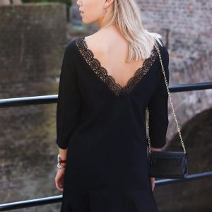Dress Open Lace Back - Black