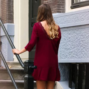 Dress Open Lace Back - Bordeaux