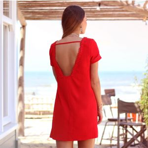 Open Back Dress - Red