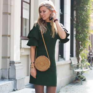 Ruffle Sleeve Dress - Green