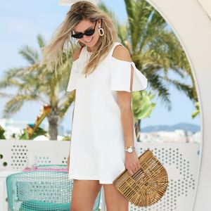 Open Shoulder Dress - White