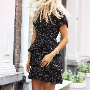 Dotted Layer Dress - Black